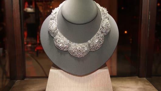 A necklace made by Nirav Modi on display on October 31, 2011 Dubai.