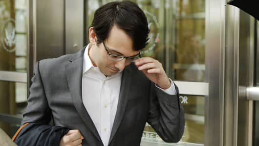 Martin Shkreli, former Chief Executive Officer of Turing Pharmaceuticals LLC, exits federal court on May 3, 2016 in the Brooklyn borough of New York City.
