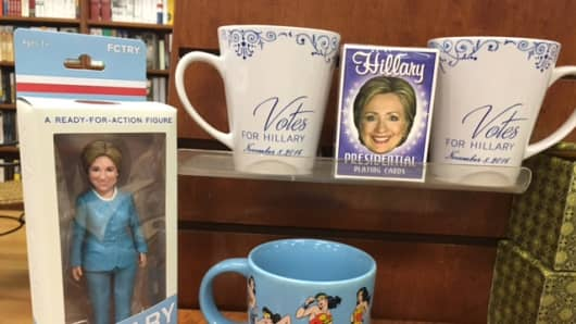 Hillary Clinton memorabilia on display at Wellesley town bookstore.