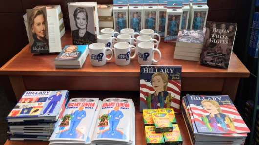 Hillary Clinton memorabilia on display at Wellesley College bookstore.