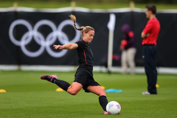 Christie Rampone of USA women's Olympic football team in action during a training session ahead of the Olympics on July 19, 2012 in Glasgow, Scotland. (