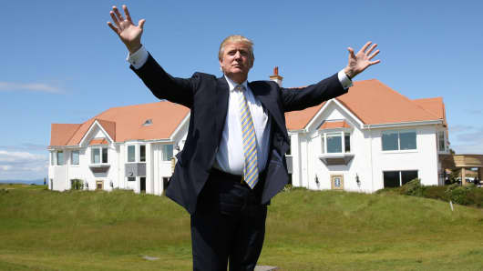 Donald Trump visits Turnberry Golf Club in Turnberry, Scotland.
