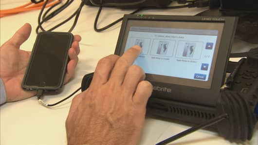 The Cellebrite machine is used to download data hidden inside smartphones.