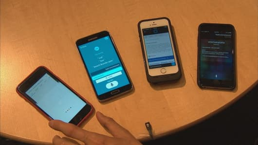 Personal assistant apps displayed on smartphones.