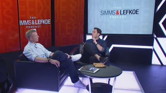 "Bleacher Report's Chris Simms & Adam Lefkoe taping the ""Simms & Lefkoe Podcast"""
