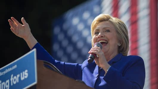 "Hillary Clinton speaks at the south Los Angeles ""Get Out The Vote"" rally June 6."