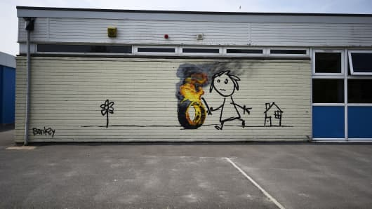 The Banksy mural at Bridge Farm Primary School