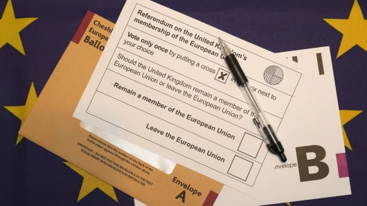 A European Union referendum postal voting form waiting to be signed