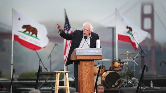 Democratic presidential candidate Senator Bernie Sanders (D-VT) addresses a crowd, estimated at more than 10,000 people, during a campaign rally at Chrissy Field in the Presidio on June 6, 2016 in San Francisco, California.