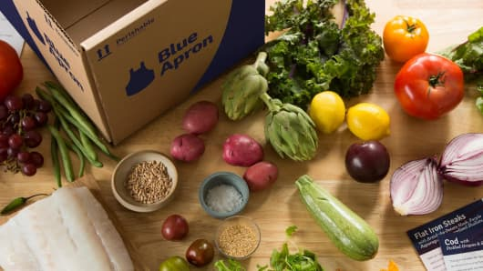 Blue Apron delivery service.