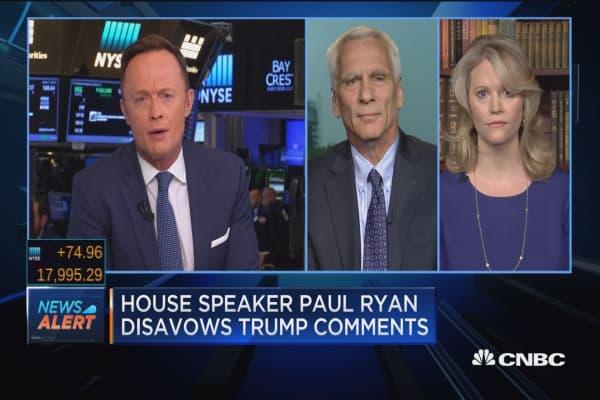 House speaker Paul Ryan disavows Trump comments