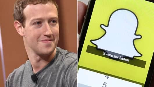 Mark Zuckerberg of Facebook and a Snapchat logo.