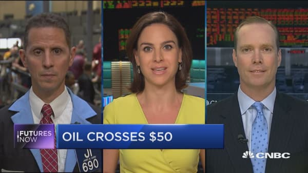 Futures Now: Oil crosses $50