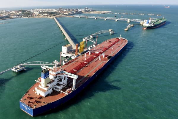 A crude oil importing port in Qingdao, Shandong province, China.