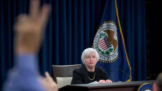 Janet Yellen, chair of the U.S. Federal Reserve, waits for a question during a news conference following a Federal Open Market Committee (FOMC) meeting in Washington, D.C.
