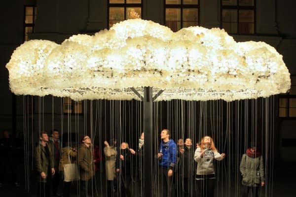 Lightbulb installation in Czech, bright ideas, disruptors