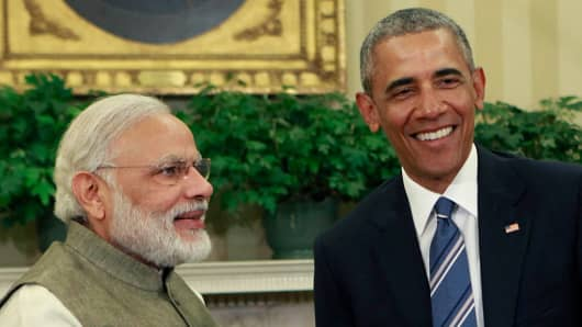 President Barack Obama meets with Prime Minister Narendra Modi of India in the Oval Office at the White House on June 7, 2016 in Washington, DC.