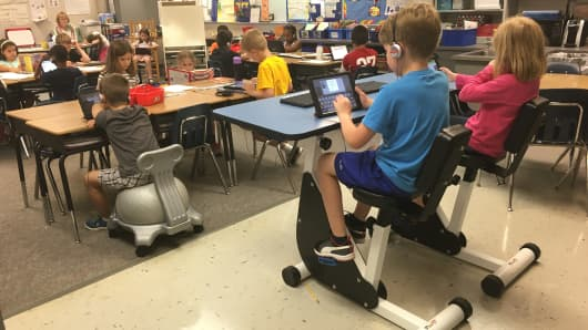 Students at Oakridge Elementary school are equipped to stay active in the classroom.