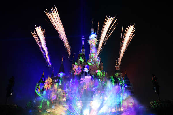 Light show performs in Shanghai Disney Resort on June 1, 2016 in Shanghai, China.