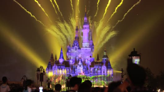 Fireworks light up the Enchanted Storybook Castle at Shanghai Disneyland on May 25, 2016.