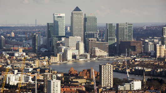 Citi and HSBC banks dominate the skyline of Canary Wharf, London.