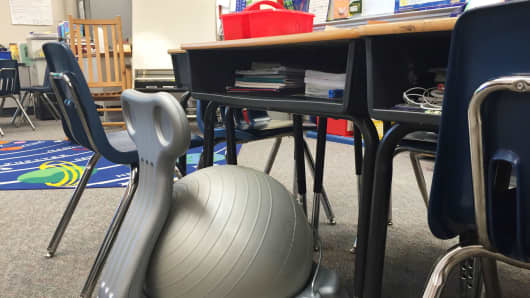 Kid-sized ball chairs at Oakridge Elementary School, Arlington, Virginia.