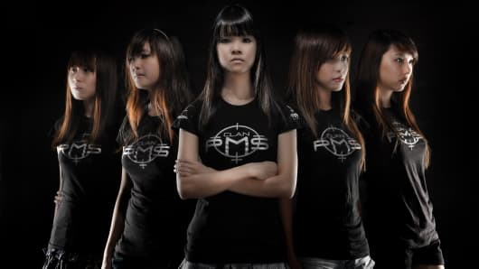 A 2010 photograph of members of Asterisk*, the Singaporean girl-gamers' group.