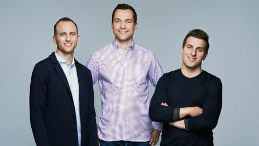 AIrbnb founders Joe Gebbia, Nathan Blecharczyk, and Brian Chesky.