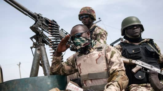 Soldiers from the 7th Division of the Nigerian Army on March 25, 2016.
