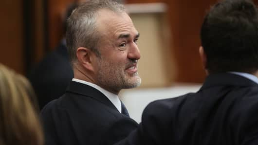Nick Denton, founder of Gawker, talks with his legal team before Terry Bollea, aka Hulk Hogan, testified against Gawker Media at the Pinellas County Courthouse on March 8, 2016, in St Petersburg, Florida.