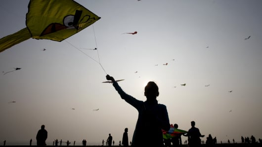 Kites, soaring in the sky