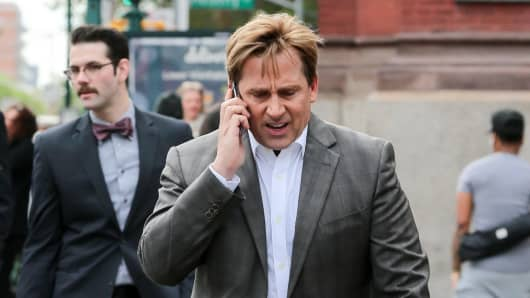 Steve Carell is seen on the set of 'The Big Short' on May 20, 2015 in New York City.