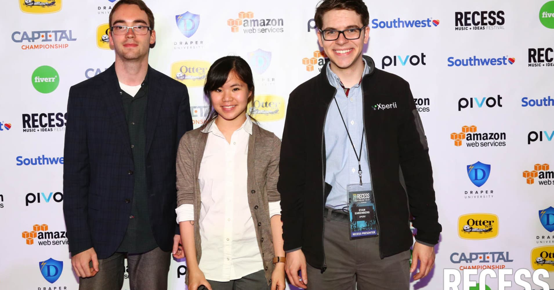 Xperii, winners of the Recess pitch finals in Los Angeles. From left to right Daniel Williams, Head of Business Development, Cynthia Chen, Co-founder & CTO and Evan Ehrenberg, Co-founder & CEO.