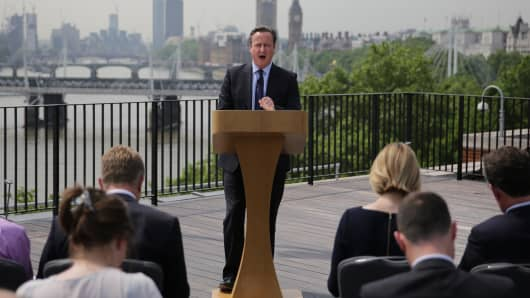 U.K. Prime Minister David Cameron delivers a speech on June 7 in London on the upcoming Brexit referendum. He has warned state pension increases and ring-fenced health spending could be at risk if the U.K. leaves the EU.