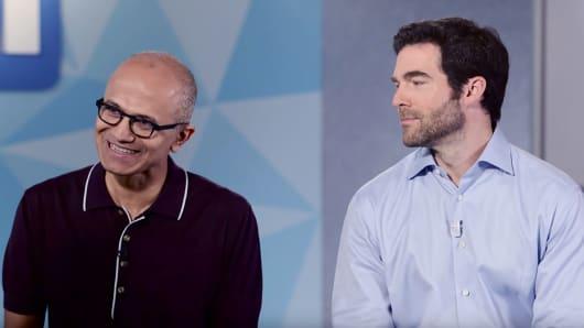 Microsoft CEO Satya Nadella and Linkedin CEO Jeff Weiner.
