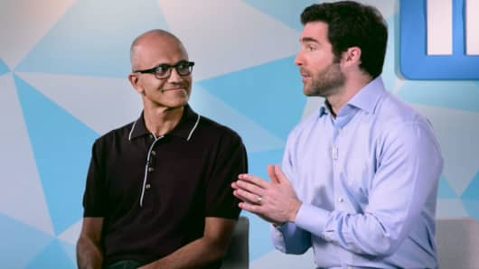 Satya Nadella and Jeff Weiner on Microsoft acquiring LinkedIn, June 13, 2016.