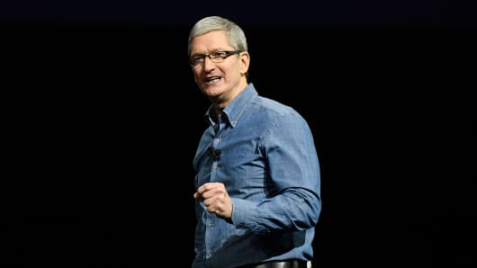 Tim Cook, chief executive officer of Apple Inc., speaks during the Apple World Wide Developers Conference (WWDC) in San Francisco, California, U.S., on Monday, June 13, 2016.