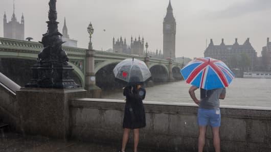 Brexit concept, in the rain