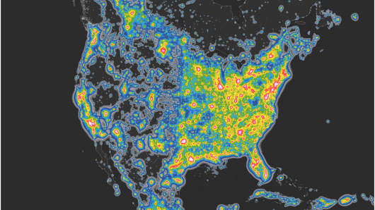 On these images, black or dark grey indicates a nearly pristine sky, blue indicates some light pollution near the horizon, green and yellow indicate far greater light pollution, and red means the Milky Way is not visible due to artificial light.