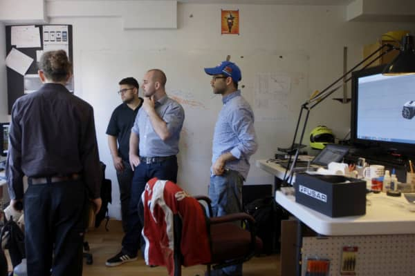 The Fusar team discusses product builds at the Fusar HQ in Jersey City, NJ