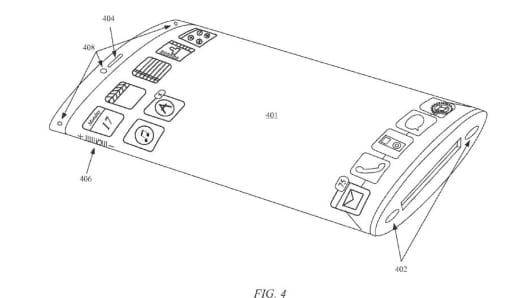 Apple's illustration of the wraparound screen in the patent filing