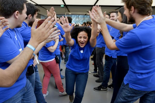 Workers at Apple Store in Zorlu Center in Istanbul.