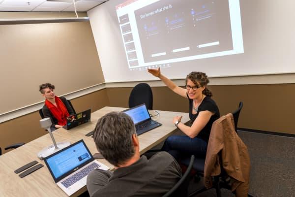 Meeting of Microsoft Cortanas writing team on campus in Redmond,Washington