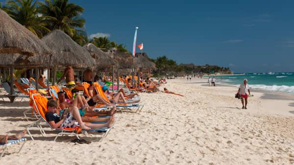 Beach Playa del Carmen, Riviera Maya, Yucatan Peninsula.