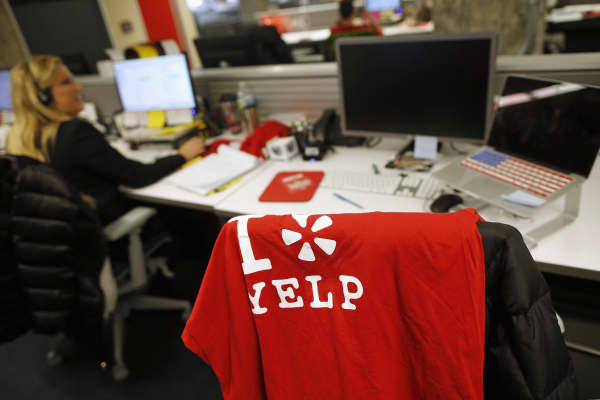 A Yelp shirt rests on an employees chair at the Yelp Inc. offices in Chicago, Illinois