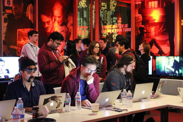 Netflix staff in the war room ready for the launch of the second season of original series Daredevil at Netflix headquarters in Los Gatos, California