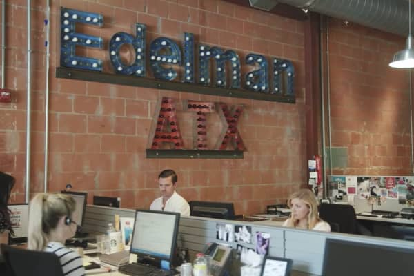 Edelman employees in the Austin, Texas office