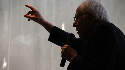 Sen. Bernie Sanders speaking last February.
