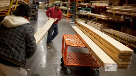 Customers pick out building materials at a Home Depot Inc. store in the Brooklyn borough of New York.