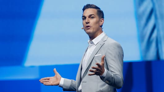 Electronic Arts Chief Executive Officer Andrew Wilson speaks during the Electronic Arts E3 press conference at the LA Sports Arena on June 15, 2015 in Los Angeles, California.